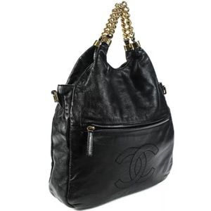 Chanel Lambskin Hardware Rodeo Drive Hobo Handbag